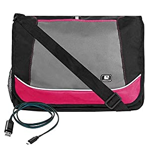 Magenta SumacLife New Canvas Briefcase Messenger Shoulder Bag for HP EliteBook 840 G2 series 14 inch + Micro USB Cable