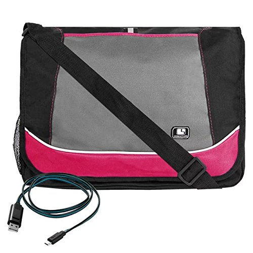Price comparison product image Magenta SumacLife Compact Design Canvas Briefcase Messenger Shoulder Bag for Lenovo Convertible Yoga 900/ 700 + Micro USB Cable