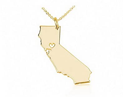 Amazon state necklace california state charm necklace 18k gold state necklace california state charm necklace 18k gold plated state necklace with a heart 14 aloadofball Image collections