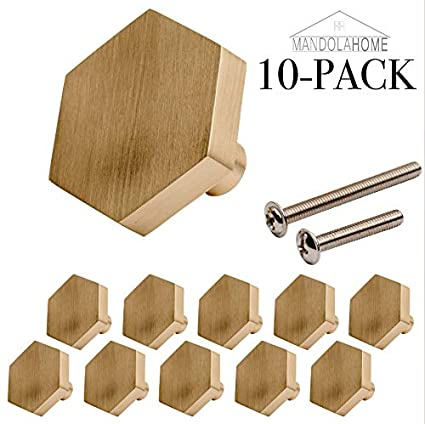 Hexagon Cabinet KNOB Hardware | Solid Stainless Steel | Pack Of 10 (Satin  Brass)     Amazon.com