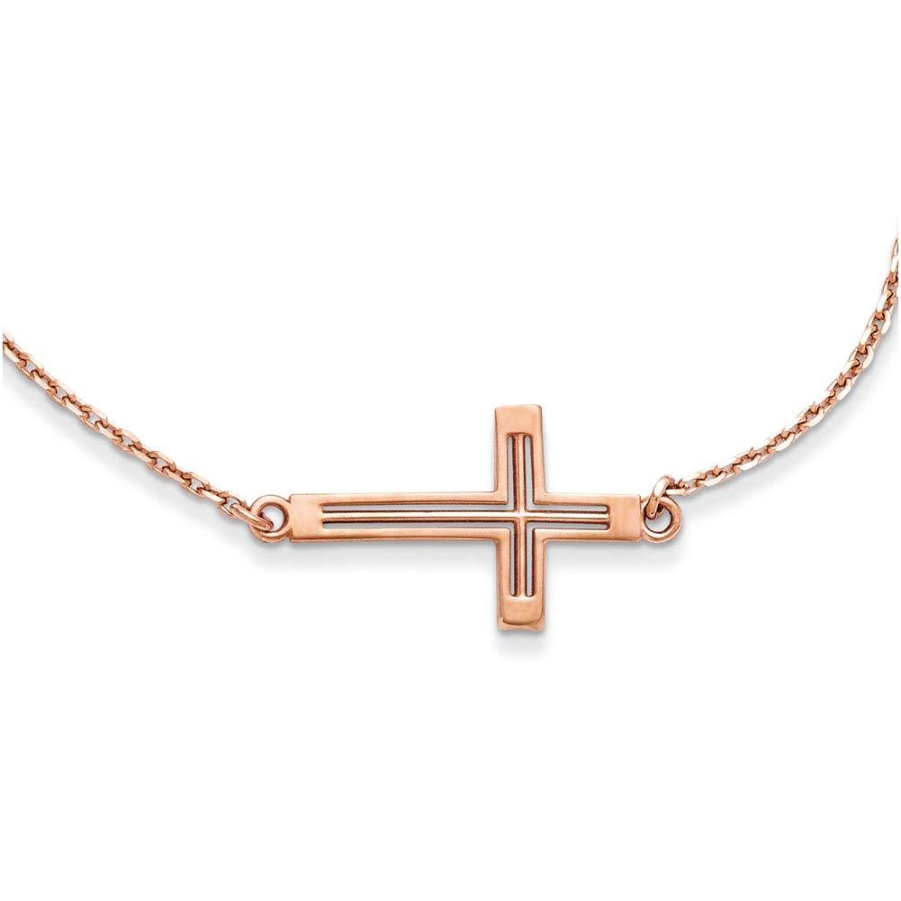 Lex /& Lu 14k Rose Gold Sideways Cut-out Cross Necklace 19