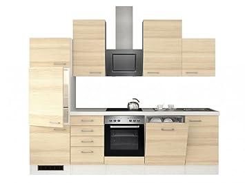 Küchenzeile 280 cm Akazie mit Schubkastenschrank und Kopffreihaube ...