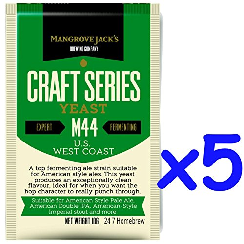 5x Mangrove Jack's Yeast M44 US West Coast Craft Series Yeast 10g treats - Jack Mangrove