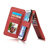 RAYTOP® 15-Slot Card Holders, Samsung Galaxy S6 Edge Plus Case, Inside Cover Removable from Wallet, Button + Zip + Magnet Closure, Multiple Pockets for Money / ID Cards / Driving License, Pretty Red