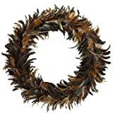 "Natural Schlappen Feather Christmas Wreath - 24"" Brown Farmhouse Autumn or Fall Decor"