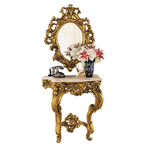 Design Toscano Madame Antoinette Wall Console Table and Salon Mirror Set (Console Table Antique)