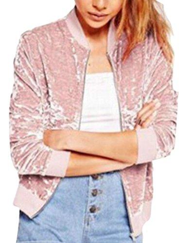 Pink Full Jacket Long Casual Sleeve Zip Women's EKU Velvet Lightweight OA7zqIwA