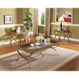 Acme 80080 3-Piece Quintin Coffee/End Table Set, Gold Finish