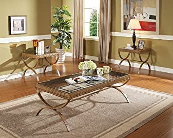 Acme 80080 3 Piece Quintin Coffee/End Table Set, Gold Finish