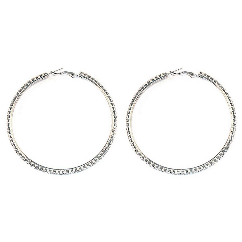 Hoop Earring Clear 40mm Made With Zinc Alloy /& Crystal Glass by JOE COOL