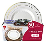 """Premium China dishes design Combo Heavy-weight Bone with Gold Trim Round Plastic Party Plates 