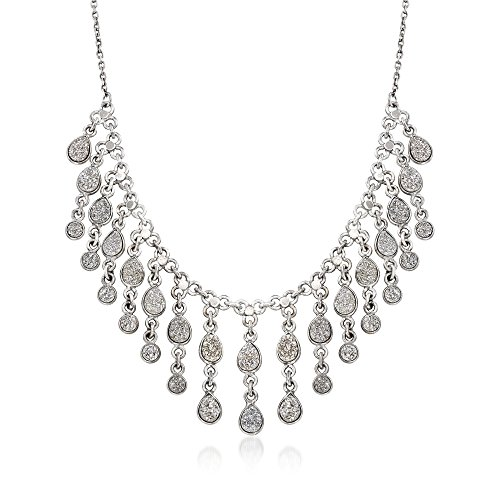 Ross-Simons Gray Drusy Teardrop Fringe Necklace in Sterling Silver