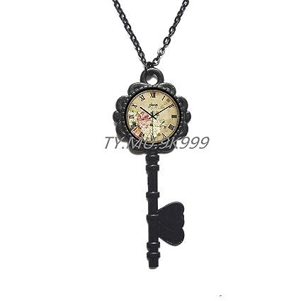 Yao0dianxku Turquoise steampunk clock Locket Necklace,Charming clock flowers Locket Pendant clock Locket Necklace steampunk jewelry old clock Locket Necklace,clock jewelry.Y230