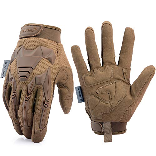WTACTFUL Rubber Knuckle Guard Full Finger Tactical Gloves for Airsoft Paintball Hunting Hiking Military Army Cycling Bicycle Motorbike Motorcycle Riding Driving Climbing Work Gear Brown Size Medium Ball Soft Brown Gloves