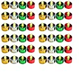 Christmas Centerpeices - Set of 48 Assorted Xmas Colored Flame Free Tealights - Red, Gold, Silver and Green Flameless Candles - Christmas Candles