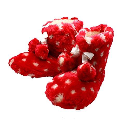 SendIt4me Rote Weiche Flauschige Pompomdetailfleckige Pantoffelaufladungen Red