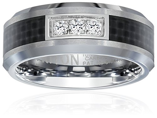Triton Men's Tungsten and Carbon Fiber 8mm Diamond Wedding Band (1/10cttw, I-J Color), Size 8.5 by Amazon Collection