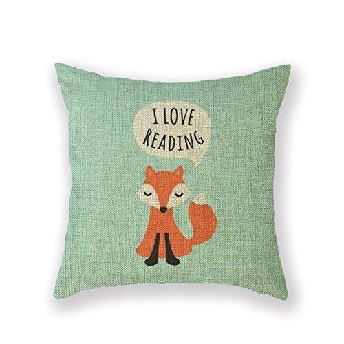 CoolDream New Arrival Pillowcase Kids Design Aqua Blue Background I Love Reading Girl Throw Pillow 18 X 18 Square Cotton Linen Pillowcase Cover (Fox Pillow)