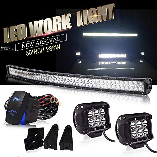 """DOT Approved 50 Inch Curved Led Light Bar Offroad Roof Upper Windshield Light + 4"""" LED + Rocker Switch Wiring for Polaris Ranger RZR ATV Truck RV UTV 4X4 Chevy Boat Tractor kawasaki Golf Toyota Tacoma"""