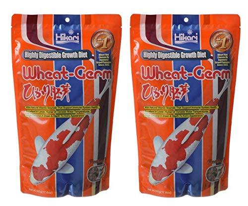 (2 pack) Hikari Wheat Germ Medium Floating Pellets for Koi and Pond Fish, 17.6 ounce