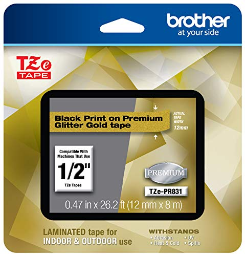 Brother TZEPR831 P-touch TZe-PR831 Black Print on Premium Laminated Tape 12mm (0.47
