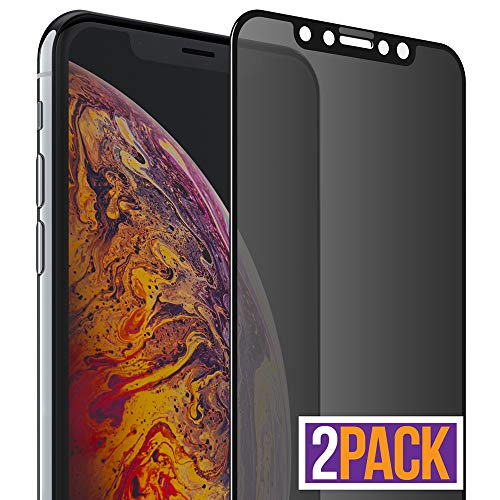 FlexGear iPhone Xs MAX Privacy Glass Screen Protector [Full Coverage] Designed for iPhone Xs MAX (2-Pack)