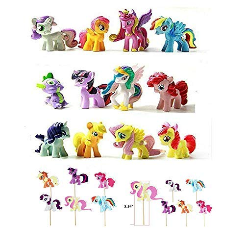 Baken 12 Pony Dolls Figures with 24 Cupcake Pick, 1.5-2' Tall My Little Pony Figure Toys For Kids Cupcake Cake Toppers