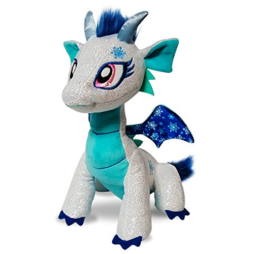 GlitterShine Dragons Plush Stuffed Toy Sparkling Blue Dragon - 12 Inches - Shimmer Frost