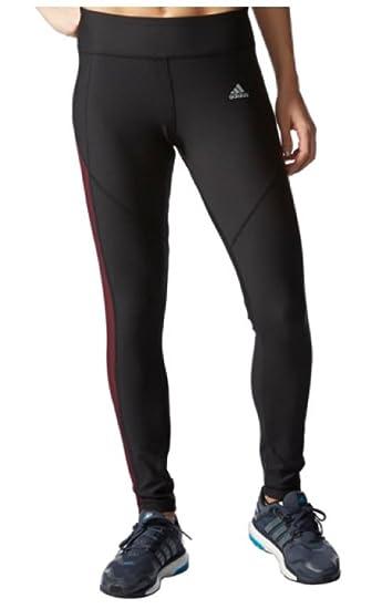 Adidas Womens Fleece Climawarm Leggings Tights Pants,Black Maroon,Large