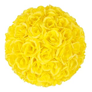 MicroMall 9.84 Inch Romantic Rose Pomander Flower Balls for Wedding Centerpieces Decorations Multicolour (Yellow) 6