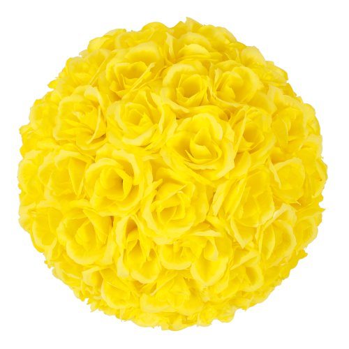 (Z ZTDM 10 Inch Artificial Romantic Rose Flower Ball for Home Outdoor Wedding Party Centerpieces Decorations (10PIECE, Yellow))