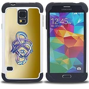 For Samsung Galaxy S5 I9600 G9009 G9008V - blue aqua water golden brown beige Dual Layer caso de Shell HUELGA Impacto pata de cabra con im????genes gr????ficas Steam - Funny Shop -