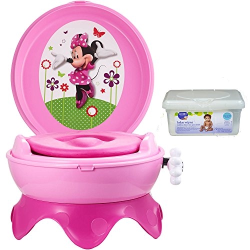 The First Years Disney Baby Minnie Mouse 3-in-1 Potty Toilet Training Seat for Toddler Girls with Baby Wipes