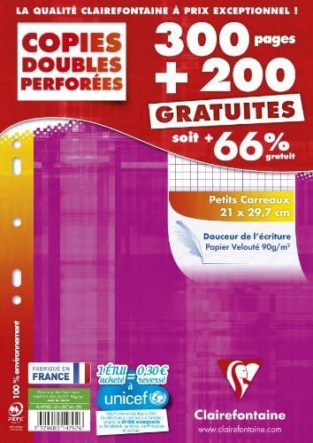 Clairefontaine 14792c Durchschlagpapier Seyes klein kariert 300 + 200 Blatt inkl. Stundenplan (frz. Modell)