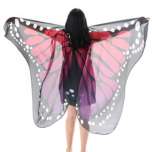 Ibeauti Women Butterfly Wings Shawl Beach Dress Swimsuit Cover Ups Fairy Costume (Red) - Ups Costumes Adult