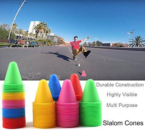 Hitasche Slalom Cônes Plot Slalom Roller Skating Patinage Multicolore Pile Obstacle Lot de 50