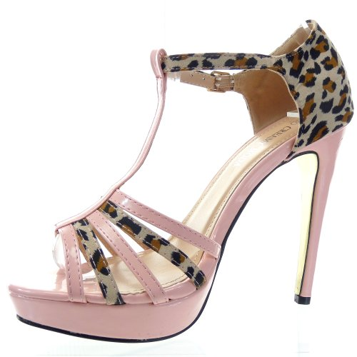Kickly - damen Mode Schuhe Pumpe Sandalen leopard Schuhabsatz Stiletto - Rosa T 36 - UK 3