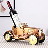 TY&WJ Creative Clocks Wine bottle holder European style Vintage Car [modeling] Wine shelf [household] Decoration [decoration] Stands gifts Wine rack-D