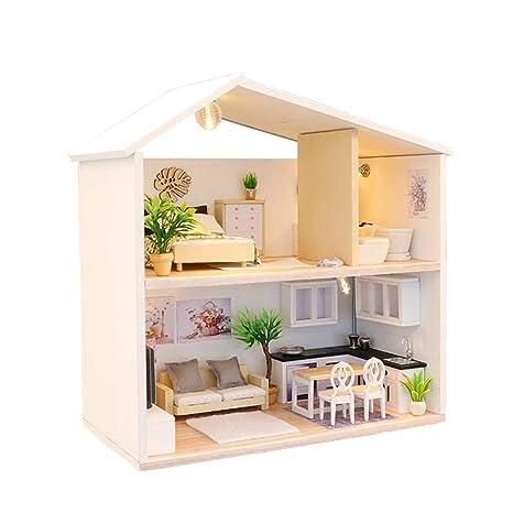 hinffinity casa de muñecas casita de Madera con Kit de luz LED Varios Muebles de Montaje casa Miniatura Manualidades Juguetes para Aficionados