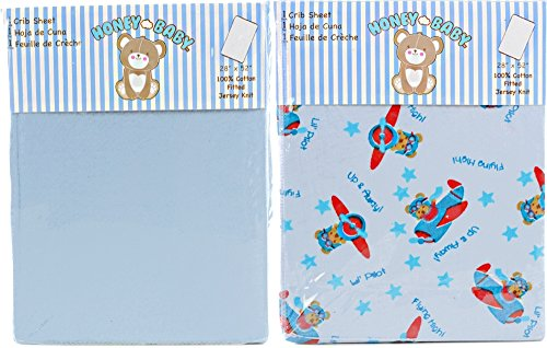 Honey Baby Flying High Toddler Bed or Crib Sheets 2-Pack