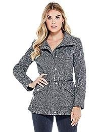 Guess Factory Women's Karlee Belted Tweed Coat