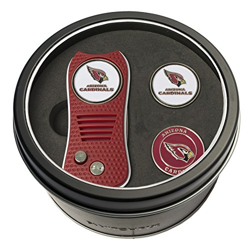 Team Golf NFL Arizona Cardinals Gift Set Switchfix Divot Tool with 3 Double-Sided Magnetic Ball Markers, Patented Single Prong Design, Causes Less Damage to Greens, Switchblade Mechanism ()