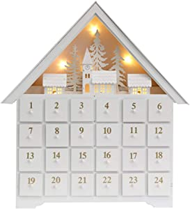 PIONEER-EFFORT 18 Inch Christmas White Wooden Advent Calendar House with 24 Drawers and Led Lights Countdown to Christmas Decoration