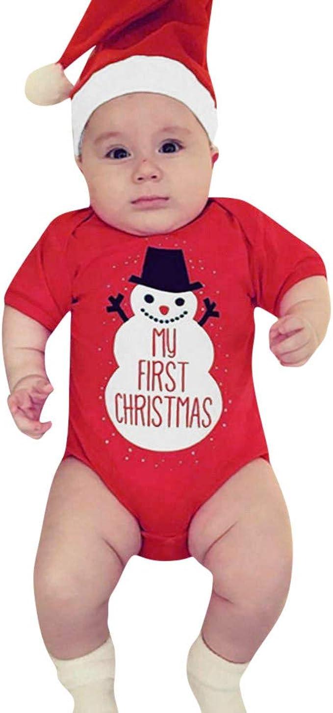Traje de Navidad Mameluco de Manga Larga de Navidad con Estampado de Letras Sombrero Ropa Bebe Reci/én Nacido de Christmas 6-24M Pantalones MYONA 3 Piezas Conjuntos de Ropa Beb/é de Navidad