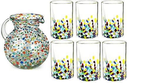 Hand Blown Mexican Drinking Glasses and Pitcher – Set of 6 with Mexican Confetti Design (14 oz each) and Pitcher (84…