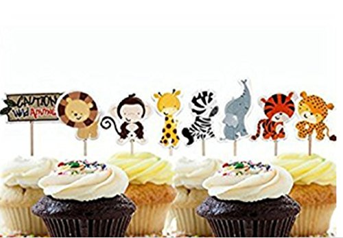 Marery 24 Pcs Cute Decorative Cupcake Muffin Toppers Wild Animals Zoo Zebra Lion Tiger Elephant Giraffe Baby Shower Birthday Party Favors]()