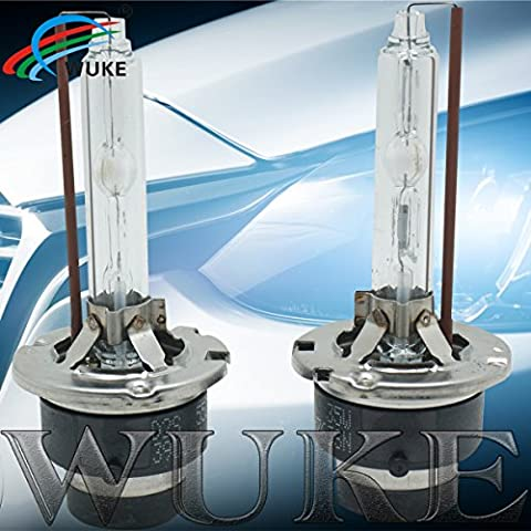 WUKE HID Xenon Replacement Bulbs - 6000K - Light white (1 Pair) - 2 Year Warranty (Super Bright D2S, (D2s Corolla)