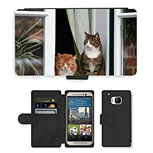 Hot Style Cell Phone Card Slot PU Leather Wallet Case // M00113813 Cat Window Sit Pet Masonry // HTC One M9