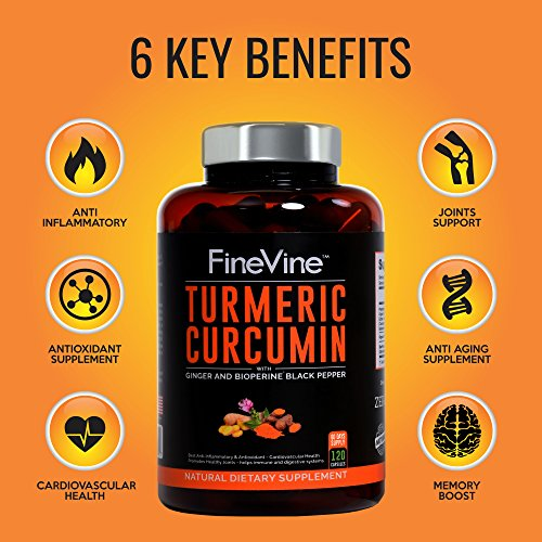 51XHSY3h%2BqL - Turmeric Curcumin with BioPerine Black Pepper and Ginger - Made in USA - 120 Vegetarian Capsules for Advanced Absorption, Cardiovascular Health, Joints Support and Anti Aging Supplement (120 Capsules)
