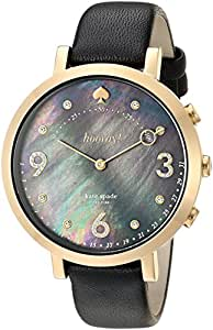 kate spade new york Women's 'Monterey Hybrid' Quartz Stainless Steel and Leather Smart Watch, Color:Black (Model: KST23208)
